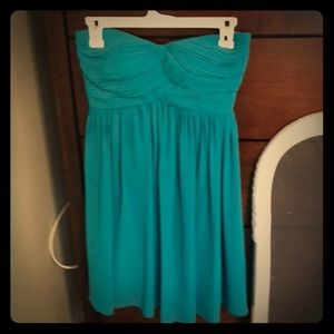 Teal strapless cocktail dress